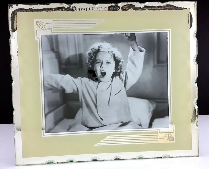 "Shirley Temple Beige Mirror 11 x 13"" Art Deco Reverse Painted Picture Frame #ArtDeco"