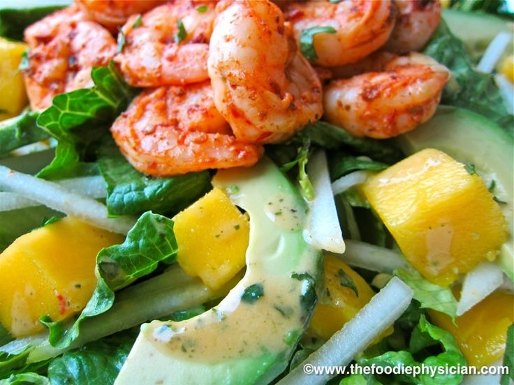 Dining with the Doc: Tropical Shrimp Salad with Honey Chipotle Dressing   The Foodie Physician