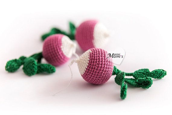 1 Pcs - Crochet radish, teether teeth, play food, kitchen decoration, eco-friendly toys (6m+)