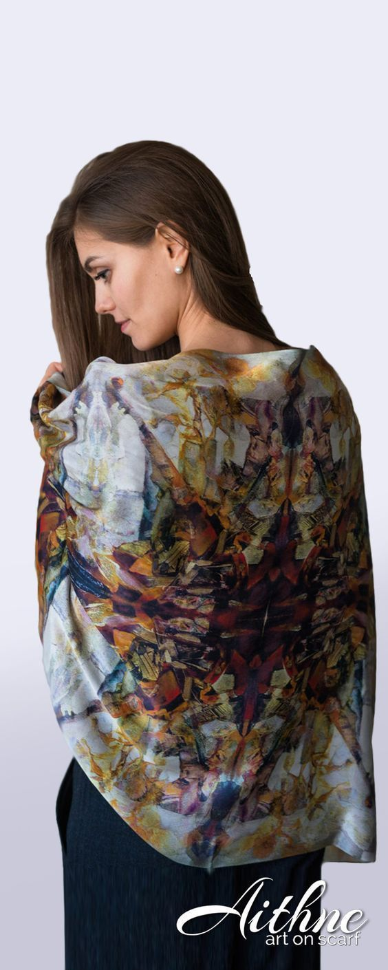 """Red Nude and Grey Silk Scarf """"Musical Composition"""" by Aithne based on original painting by Ararat Petrossian from the collection of """"The Oneiric World"""""""