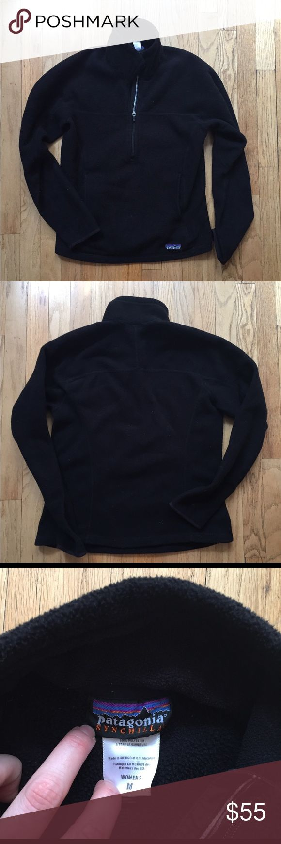 PRICE DROP Patagonia black 3/4 zip fleece SALE Good condition - Black Patagonia Synchillas fleece with 3/4 zip and kangaroo pocket - women size medium. Perfect for wearing alone in the fall or layering in the winter! NO TRADES Patagonia Jackets & Coats