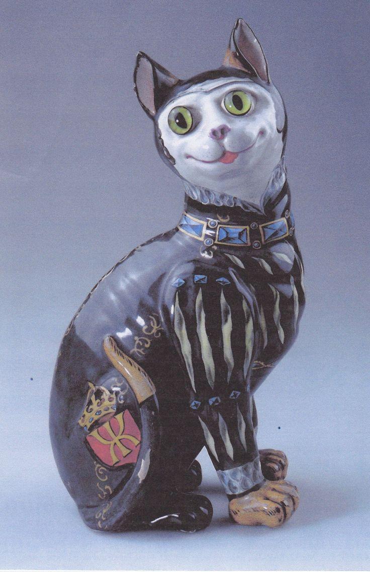 Кошки фаянс Эмиль Галле (1846-1904) Эмиль Галле является одним из самых важных стеклянных и фаянсовых художников модерна. Эти два Katzenfayencen недавно был на аукционе в Мюнхене для € 8.000, - (черная кошка) и € 4000, - с аукциона (желтый кот).