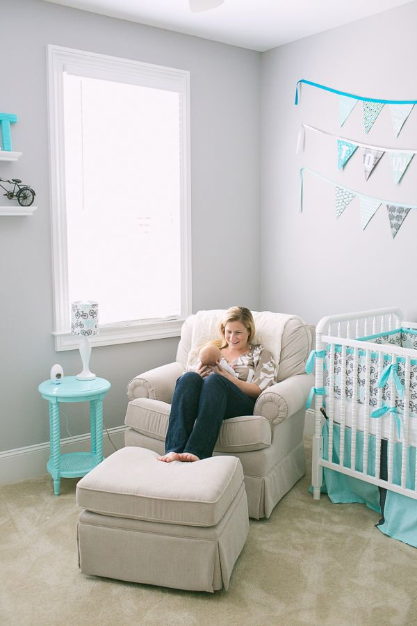 Mini Piccolini - Aqua Nursery. This is similar to the color scheme we are looking at. Just a few touches of aqua, but mostly gray and white