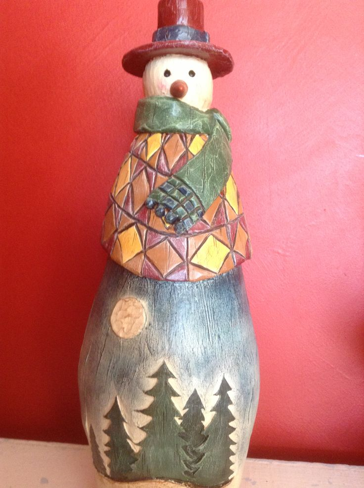 Hand made terracotta snowman. Designed and made by Kylie Bailey.