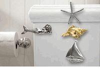 Coastal Themed Metal Toilet Handles - love the mermaid!