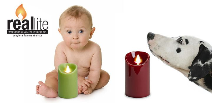 Perfect for little ones & pets RealLite offer the feel of a wax candle along with a realistic electronic flame. You can't go wrong with these candles! We have them in a variety of sizes & colours
