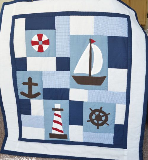 From December Skye: a nautical baby boy quilt. DIY. Adorable. #babyquilt #nautical