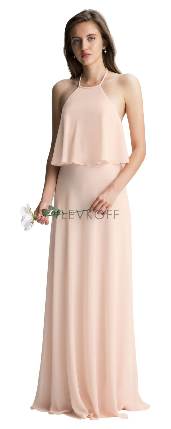 117 best bill levkoff bridesmaid dresses images on pinterest chiffon halter gown with overlay draped bodice a line ombrellifo Images
