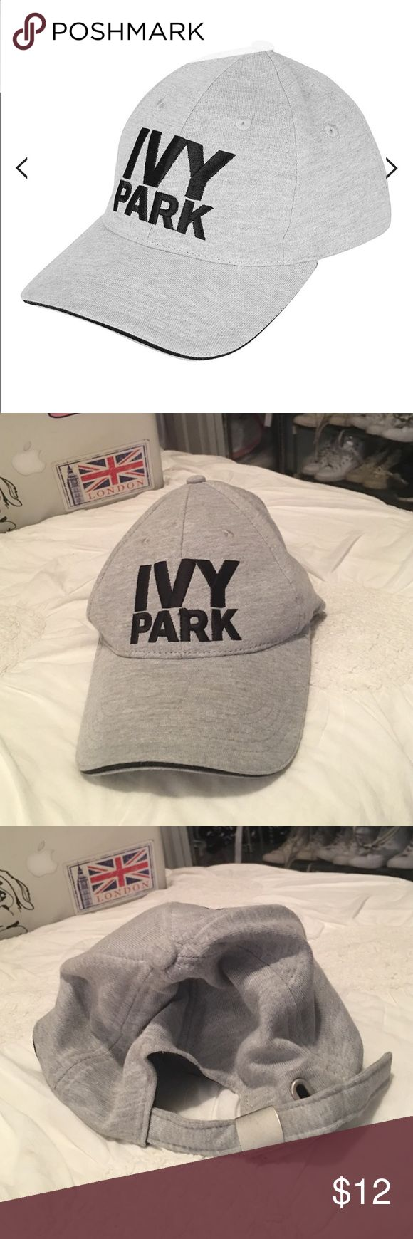 Ivy Park Grey Baseball Hat Beyoncé's athletic wear line! Purchased from Topshop. Like new condition! Crafted in a rich cotton, the baseball cap is designed with understated style in mind to compliment active and casual outfits perfectly. With a stacked Ivy Park logo to the front, it comes detailed with a contrast ribbing to the peak and antique silver metal adjuster clasp to the back for versatile wear. Topshop Accessories Hats
