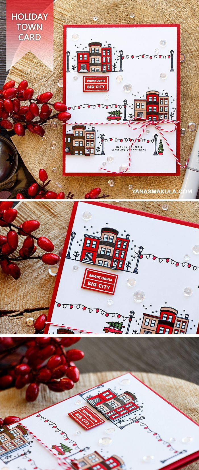 Create a festive Holiday Town Card using Hero Arts Mini Christmas and Kelly's It's Christmas Time stamp sets. For details, please visit http://www.yanasmakula.com/?p=55948