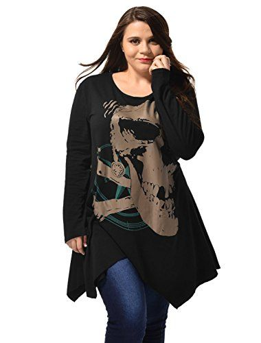 Alya Ladies Asymmetric Hem Skull Print Plus Size Blouse T-Shirt Black 2X. Skull Pattern Long Blouse. Pullover, Plus Size. Scoop Neck, Loose Fitting. 95% Polyester, 5% Spandex. Machine Wash Inside Out. Model is wearing in size 1X (Height: 5ft 6inches, Bust: 42 7/8 inches, Waist: 35 inches, Hip: 46 1/2 inches).