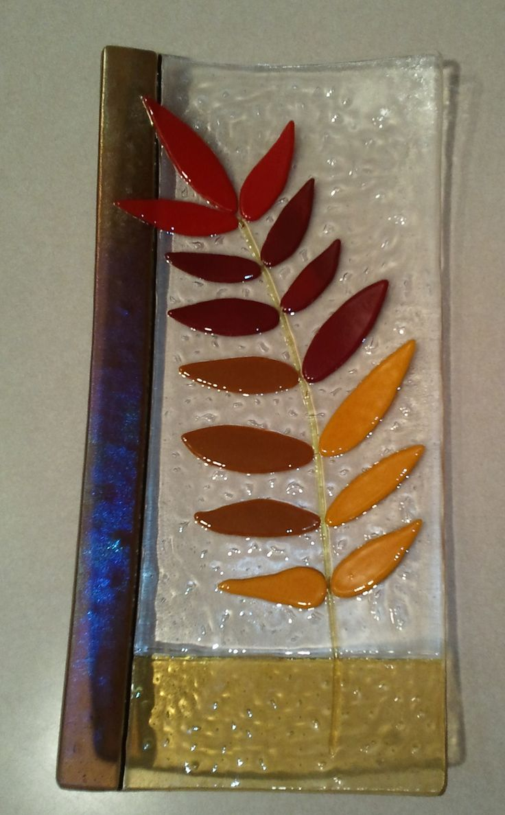 7x15 inch fused glass plate.  I call this one Sumac Plate.