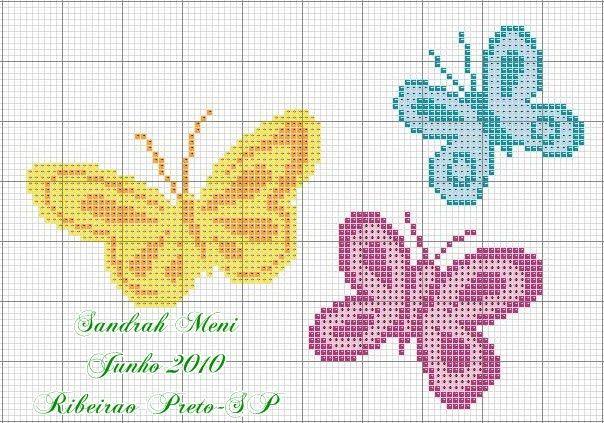 Déia Klier - Trabalhos Manuais!: Lindas borboletas em ponto cruz!
