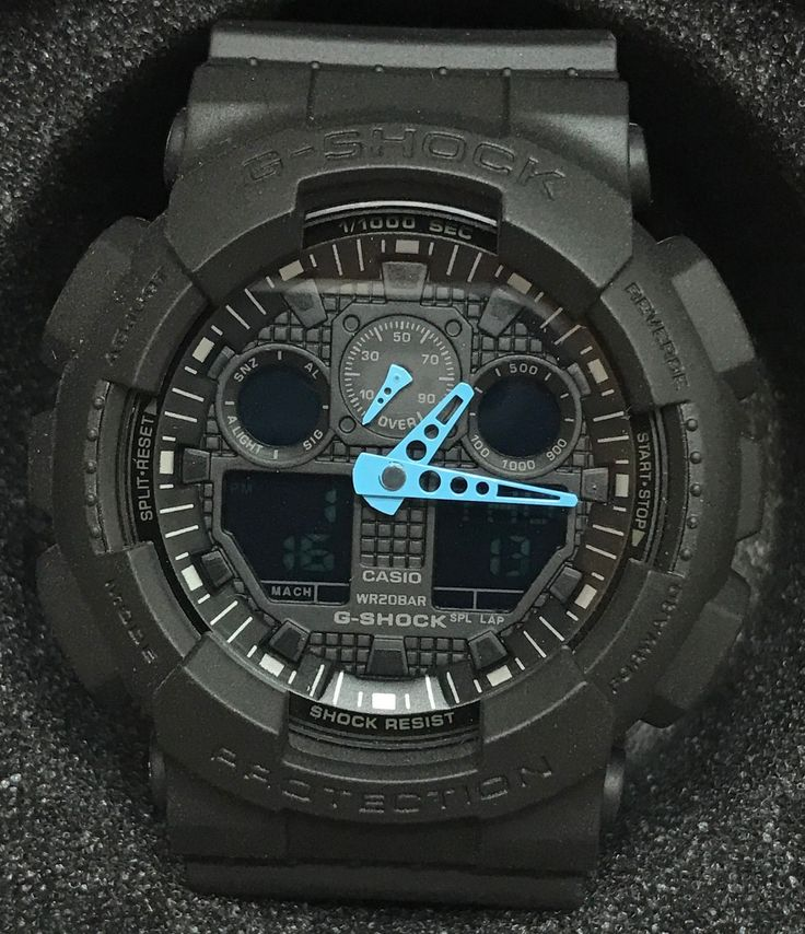 Casio G-Shock GA100C-8A Analog Digital Black & Blue Digital Watch