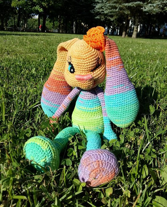 #Rainbowtoy with #happycolors is crochet #amigurumi #bunny. Rabbit crochet toy is perfect handmade gift for any occasion: for #babyshower #birthdays, on #sweetsixteen or simple just to say #missingYou.  It's something worth #collectors treasury box as a #collectible gift.  Or can be perfect unique #crochetdecor for your nursery or living room.  #Tabacemagic #crochettoy #amigyrumibunny #crochrabbit #crochettoy #babyshowergift  #crochetbunny  #knitgift #crochetgift #newborngift #christmasgifts