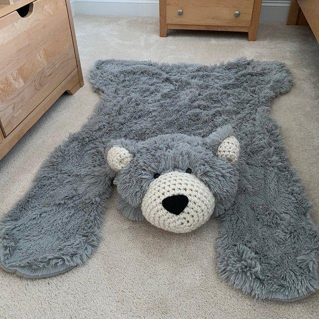 Small Grey Grizzly Bear Rug Woodland Nursery Bear Rug Crochet Teddy Animal Rug