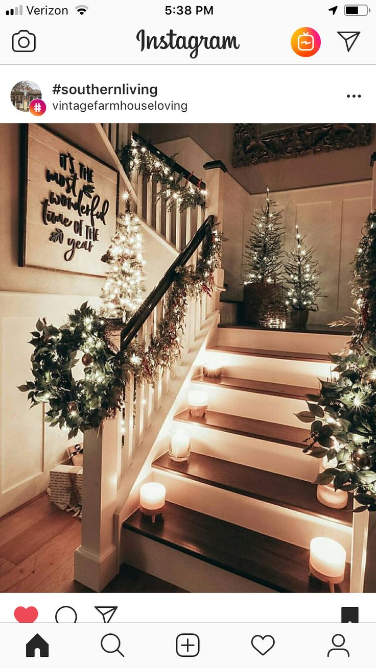 Candles on stairs decor Christmas decorations