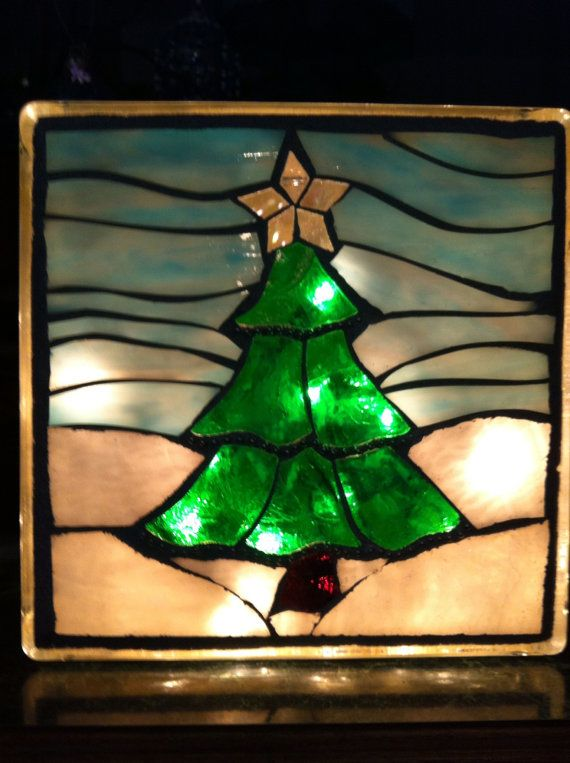Lighted glass block with Christmas scene in by PatsMosaicGarden, $70.00