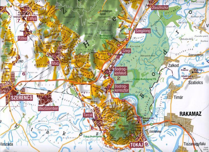 Map of Tokaj wine region.