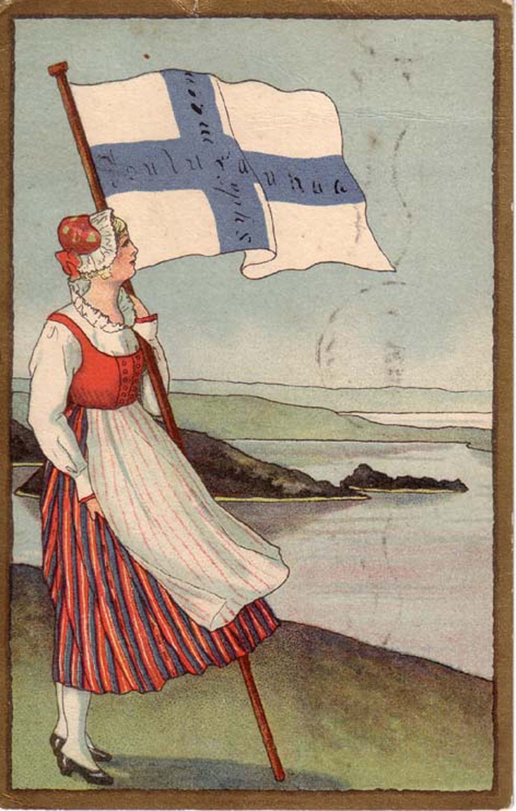 """the text on the flag says """"Yule peace in to heart"""" - weird, considering that the landscape is very summery..."""