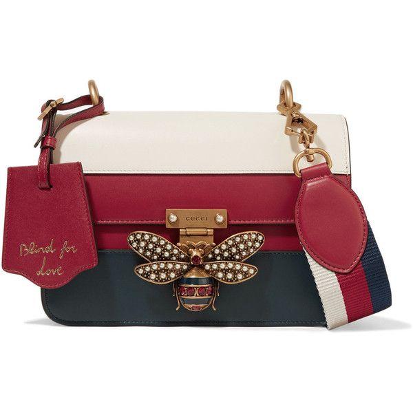 752ad4fc44c Gucci Queen Margaret embellished paneled leather shoulder bag ...