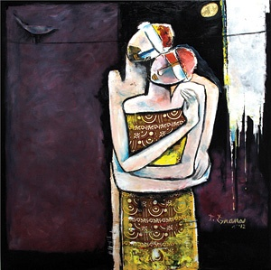 Nothing Else But Love: Recent Collection of Paintings by P. Gnana  By Vidhya Gnana Gouresan      Image: P. Gnana, Love Revived, oil and fabric collage on canvas, 122 x 122 cm, 2012