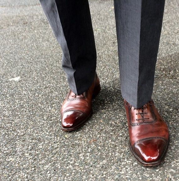 Westbourne, an oxford shoe with a u-throat and punched toe cap. Made