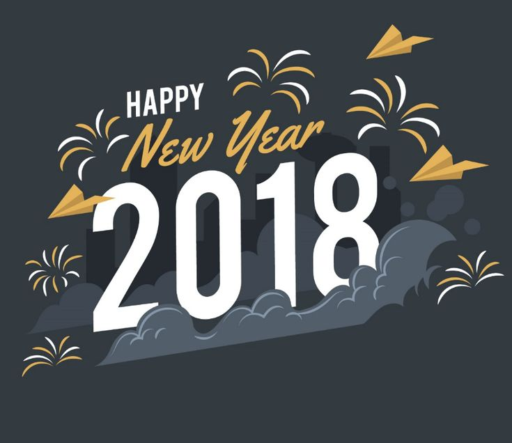3D Happy New Year 2018 Background Image