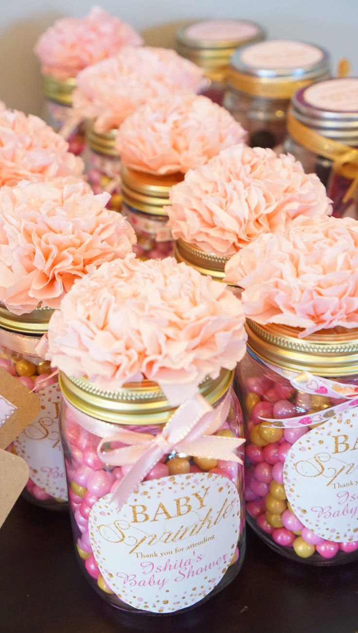 DIY Baby Shower Favor Gifts! All You Need Is Mason Jars, Pink And Gold  Sixlets, Custom Labels (zazzle), Ribbons For Bows And Pink Tissue Papers To  U2026