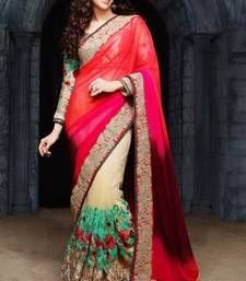 Buy Pink and tommeto red and cream plain georgette saree with blouse georgette-saree online