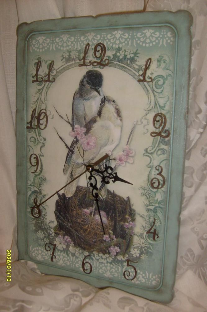 "Винтажные часы «Любовное гнёздышко…"" http://dcpg.ru/blogs/8801/ Click on photo to see more! Нажмите на фото чтобы увидеть больше! decoupage art craft handmade home decor DIY do it yourself clock"