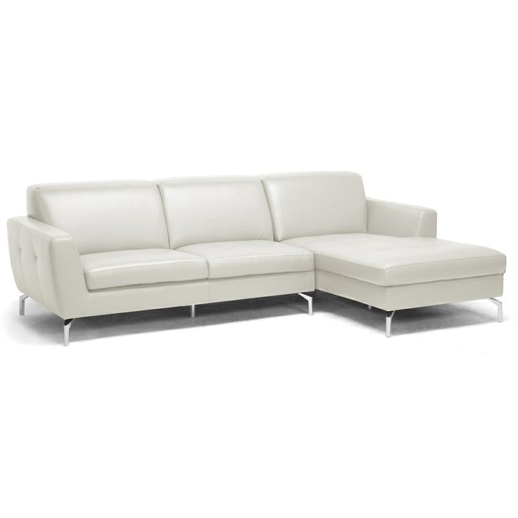donovan cream leather modern sectional sofa by baxton studio - Modern Leather Sectional