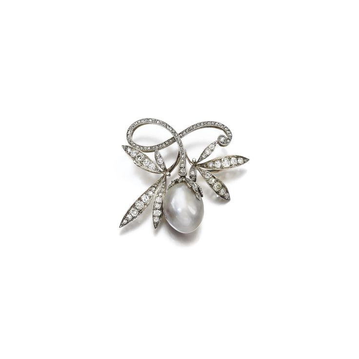 Natural pearl and diamond brooch, late 19th century Set with a natural grey baroque-shaped pearl measuring approximately 20.0 x 16.1 x 12.8mm, to a scrolled foliate surmount set with circular-cut and rose diamonds.