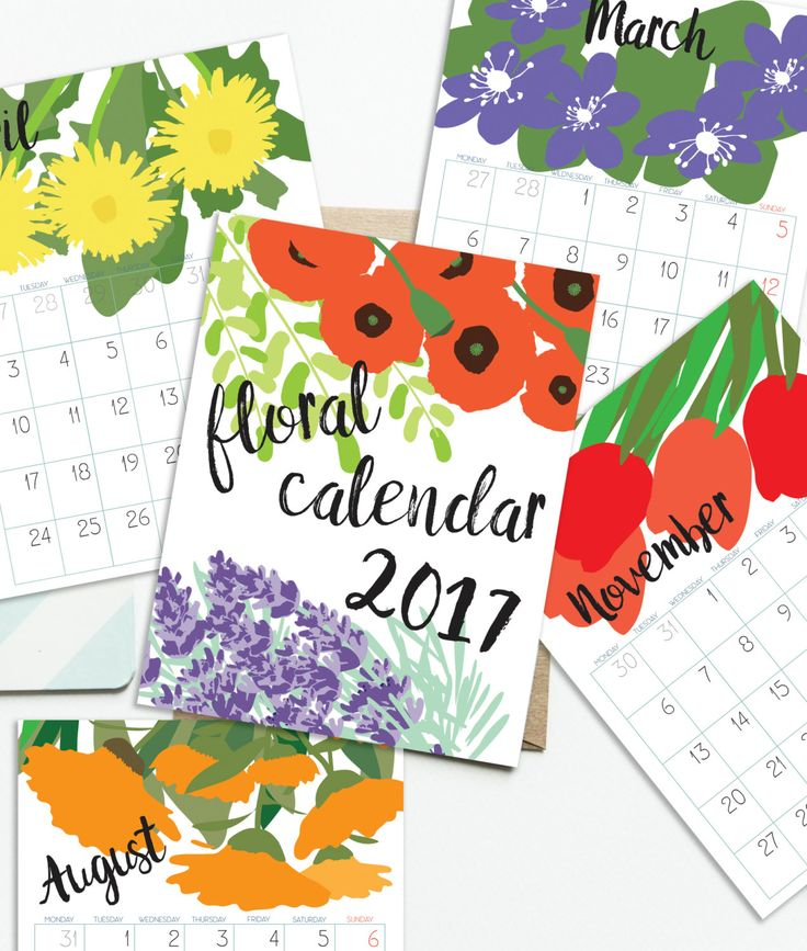 Floral calendar 2017.  Printable monthly pages. DATED. Inspired by flowers…
