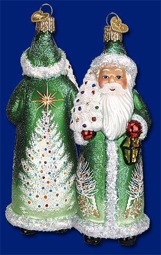 Glistening Santa with Tree,  Christmas Glass Ornaments  www.oldworldchristmas.com
