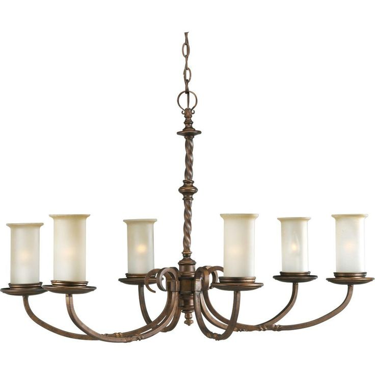 Progress Lighting Santiago Collection 6-Light Roasted Java Chandelier