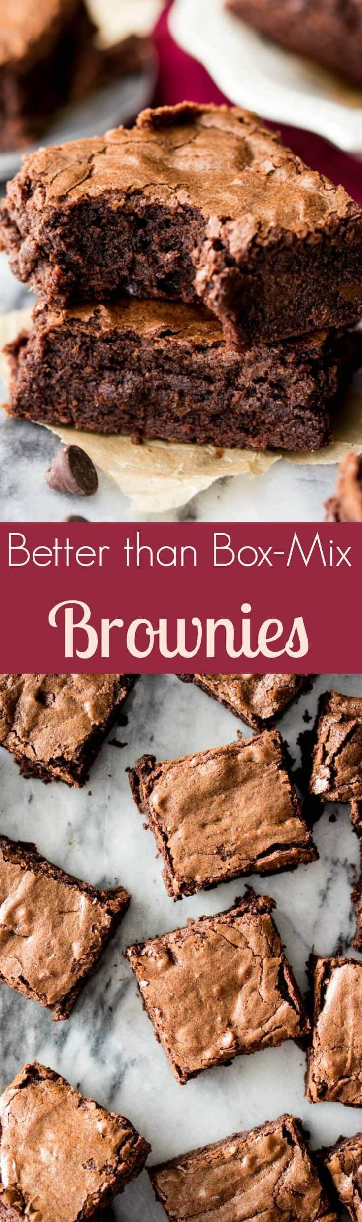 Homemade Brownies from Scratch -- easy, chewy, chocolaty, and made in one bowl! || Sugar Spun Run via @sugarspunrun