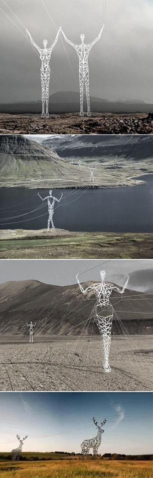 Power Lines - Iceland. Авторство эскиза принадлежит американскому бюро Choi+Shine Architects. Этот проект «Земля гигантов» (Land of Giants), «рассматривается в связи со строительством линий электропередач в ближайшем будущем».