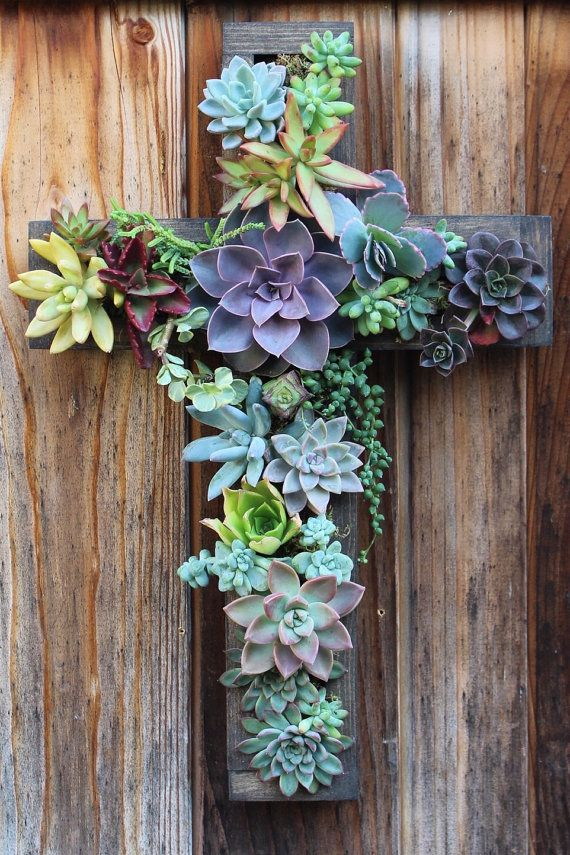Large Cross Vertical Succulent Garden by SucculentWonderland