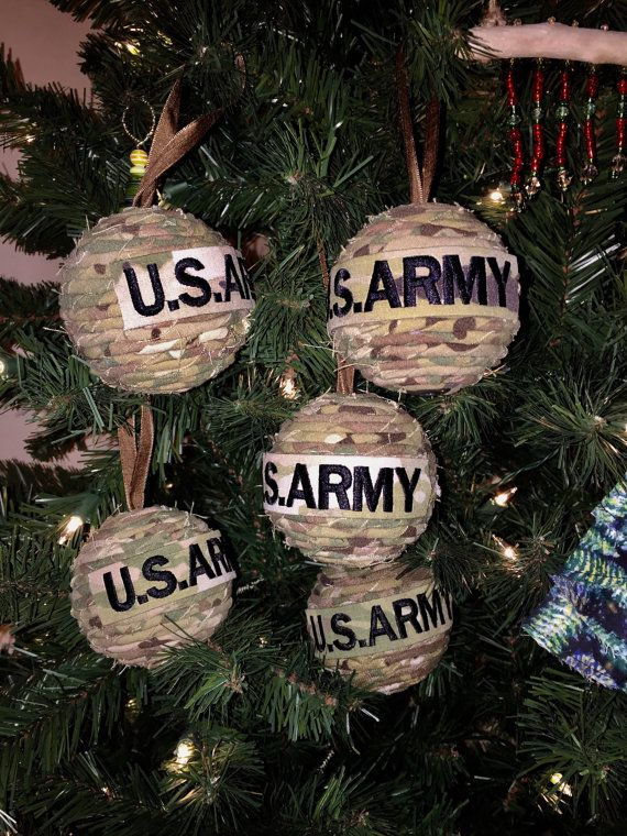 US Army Uniform Christmas Tree Ornament. OCP uniform balls have variations of color ribbon and buttons or some balls are without buttons.