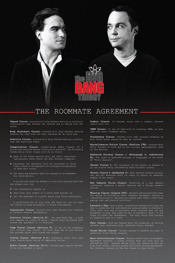 Sheldon's roommate agreement                                                                                                                                                                                 More