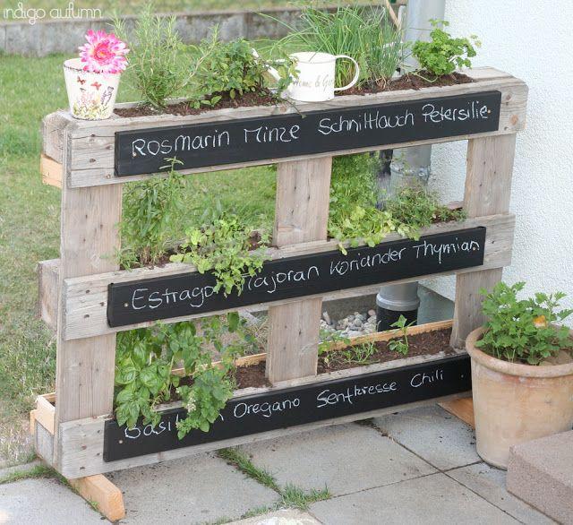 Herb garden pallets gardening pinterest for Wood pallet herb garden