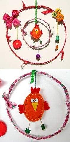 Un bricolage facile à faire avec les enfants - Grandir avec Nathan http://www.grandiravecnathan.com/bricolage/le-mobile-en-tissu.html