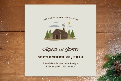 Log Cabin Save the Date Cards from Minted- perfect to invite guests to a weekend long wedding event at a summer camp! #perfectwedding