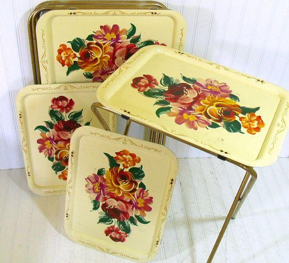Vintage Metal Tray Tables Set of 4 - Retro Handpainted ToleWare Collection - BoHo Bistro Service