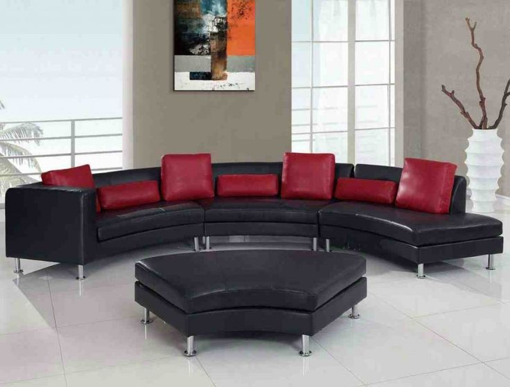 Rounded Ultra Bonded Metal Legs Sectional Sofa, Black+Red Pillows Elegant  Style Separating Your Self From The Rest Made Easy