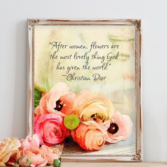 Pink Flower Watercolor Fine Art Print Christian Dior Quote