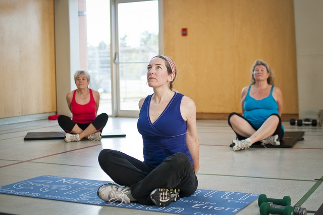 Teaching stretches at our aerobics fitness classes at the YMCA of Parry Sound