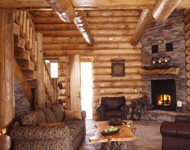 log cabins: Living Rooms, Dreams Houses, Dreams Home, Corner Fireplaces, Logs Cabins, Cabins Living, Rustic Cabins, Logs Home, Logs Houses
