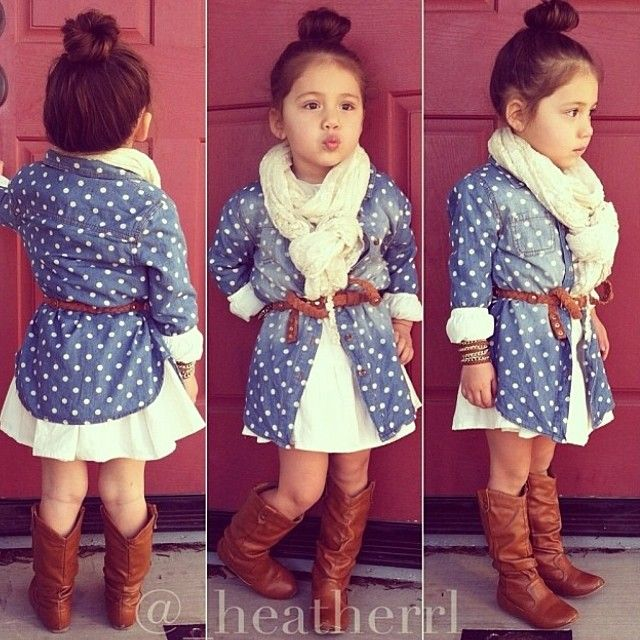 Hip Kid Style , child's scarf, brown leather boots and belt and white dress with blue shirt and white polka dots over the top .. cute high bun too! LOVE